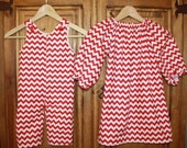 Brother sister matching red chevron outfits by Gigi Babies