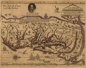 Antique Map of Virginia 1667 Sir Francis Drake