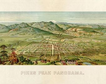 Antique Bird S Eye View Map Pikes Peak Panorama Colorado Springs 1890
