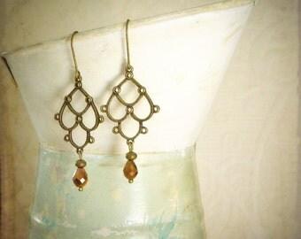 Chandelier Earrings, brass and copper crystal bicones, delicate oriental bohemian earrings, dangling, elegance