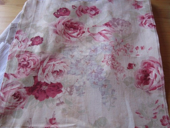 RESERVED for Yoshie...Bundle 6 pcs Antique French rustic hemp linen antique rose rosebud floral print cottons ticking
