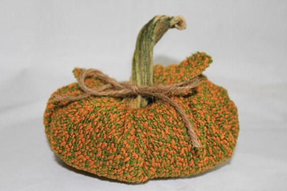 Autumn fabric pumpkin real pumpkin stem stem jute tie mustard & olive squash