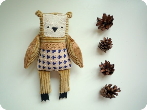 Luc -  Little   Owl, soft art toy by Wassupbrothers