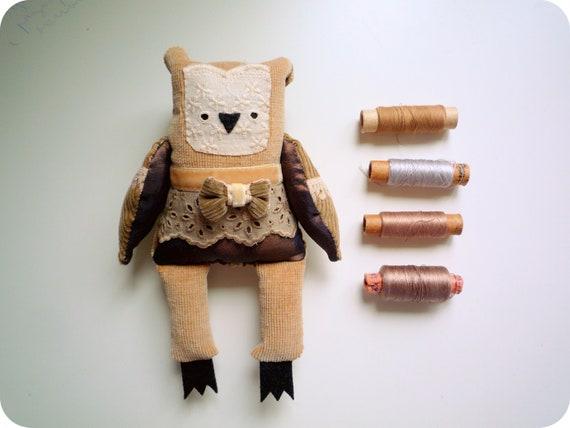 Gaspar  - Little  owl, soft art  toy  by Wassupbrothers