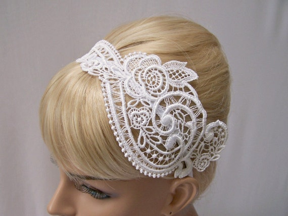 Anemone lace headband white