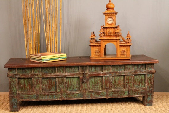 Green Antique Trunk Table