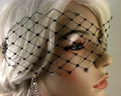 "Black, Ivory or White English Net Veil Mask with Rhinestones 3"" x 15"", Wedding Veil, Bridal Veil"