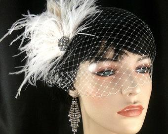 Wedding Hair Piece, Bridal Feather Fascinator, Bridal Fascinator, Bridal Headpiece, Bridal Hair Accessories, Bridal Veil