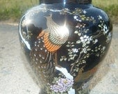 Vintage OMC Japan Black Peacock Vase