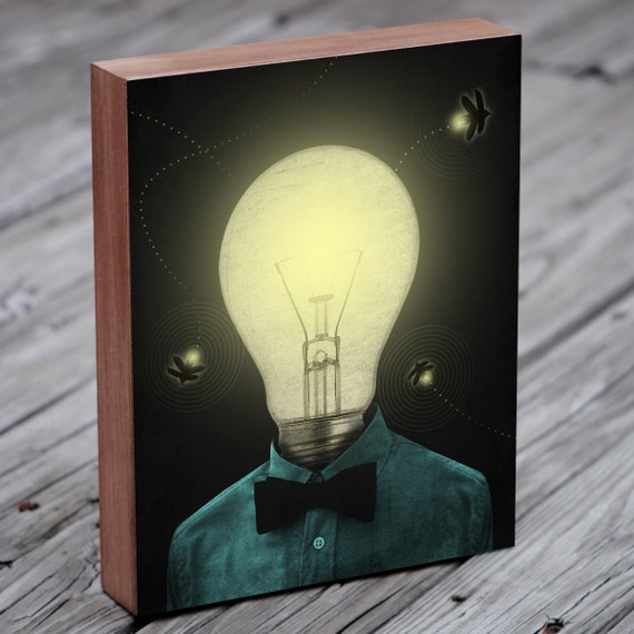 Firefly Art - Lightning Bug Art Print - Edison bulb -  Wood Block Print