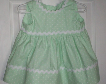 Mint Green w White Polkadots Dress - Sizes 9 Mo and 12 Mos