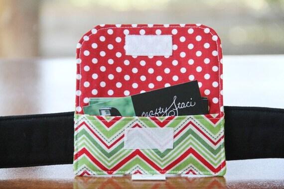 Camera Strap Business Card Pocket - Christmas Chevron - Ready to Ship