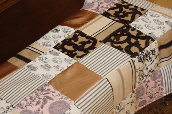 Beautiful throw made of vintage toile, burned out velvet, blush satin with heavy black fringe with coordinating Paris pillow
