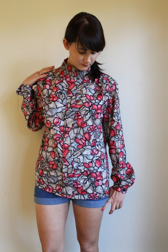SALE Silky Secretary Blouse  Floral Stained Glass Vintage 70s  /  Large or OSFM