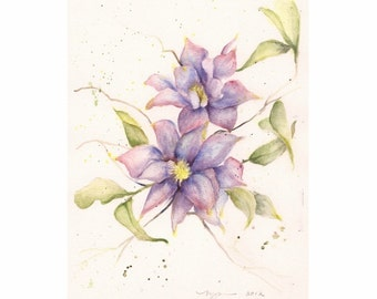 "Clematis in Blues, Print of Watercolor 8""x10"""