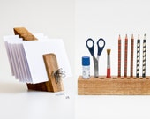 DESK ORGANIZER SET, Wooden Desk Set, Desktop Organizer, Wood Mail Organizer