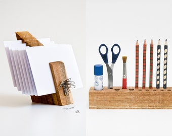 DESK ORGANIZER SET / Wooden Desk Set / Desktop Organizer / Wood Mail Organizer / Pen Holder