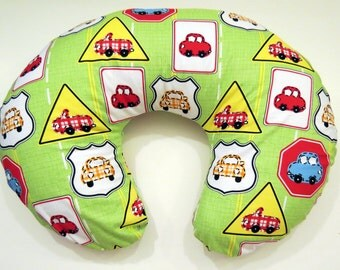 Boppy Nursing Pillow Cover: Cars and Traffic Signs on Lime Green