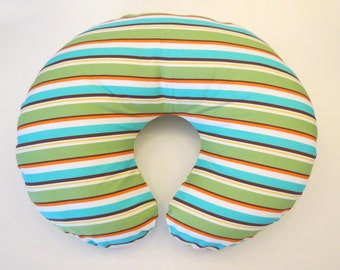 Boppy Nursing Pillow Cover: Organic Cotton Modern Stripes in Orange, Green, Teal and Brown