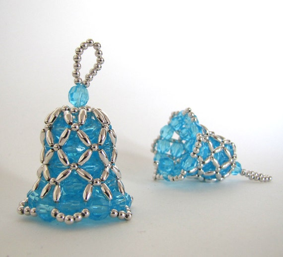 Items similar to bell beaded ornament turquoise with