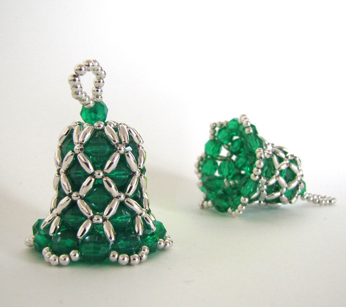 Bell Beaded Ornament: Christmas Green with Silver Beads