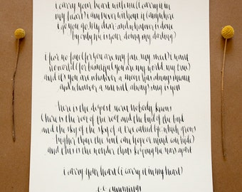 Custom Calligraphy Wall Art // Handwritten Poem, Quote, Saying or Verse // 11x14""