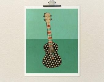 Home Decor Wall Art Music Poster // Righteous Uke (series) // Musical Instrument Giclee Modern Art Print