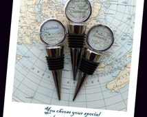 Map Wine Stopper, You Choose the Special Place in Your Heart.