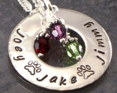 Personalized Paw Print Necklace for the Pet Lover - Eternity Circle - Hand Stamped with Names of Pets and Paw Prints