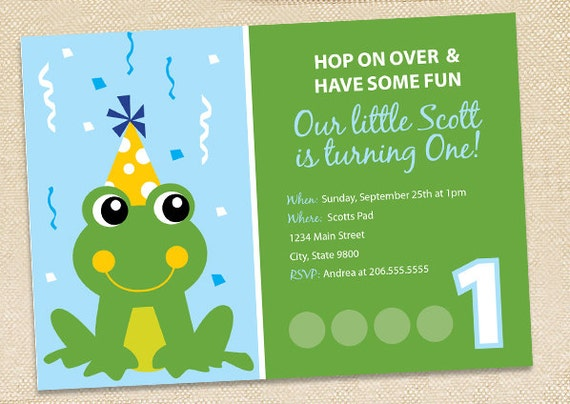 Frog Birthday invitations - set of 15