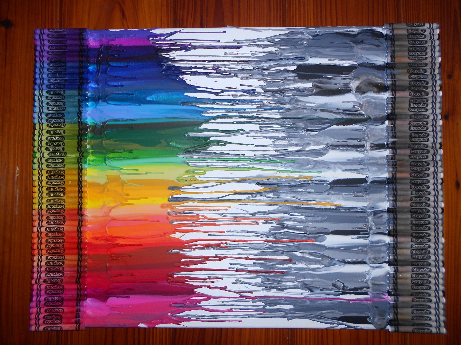 black white vs color melted crayon art