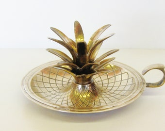 Vintage Large Brass Candleholder, Hollywood Regency Pineapple, Williamsburg Style, Palm Beach Decor