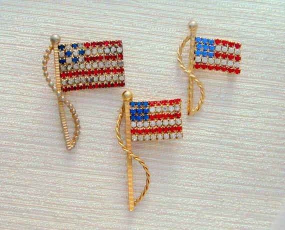 SALE Half Price 3 Pc Rhinestone US American FLAG Pins Brooches
