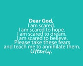 8X10 Prayer Print in Teal and White