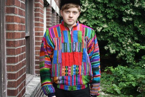 vintage 90s HIP HOP unisex ikat pattern colorful patchwork zip up jacket size M-L