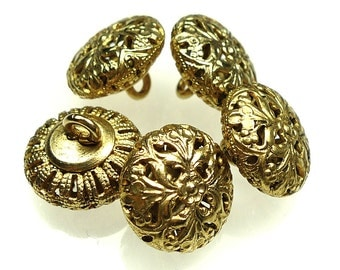 Vintage yellow brass buttons 5pcs
