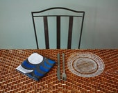 """Set of 2 """"Nights"""" Table Napkins, Hand-printed in White and Blue on Washed Charcoal"""
