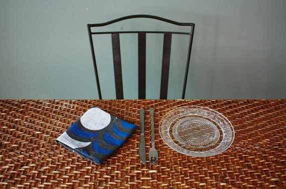 "Set of 2 ""Nights"" Table Napkins, Hand-printed in White and Blue on Washed Charcoal"