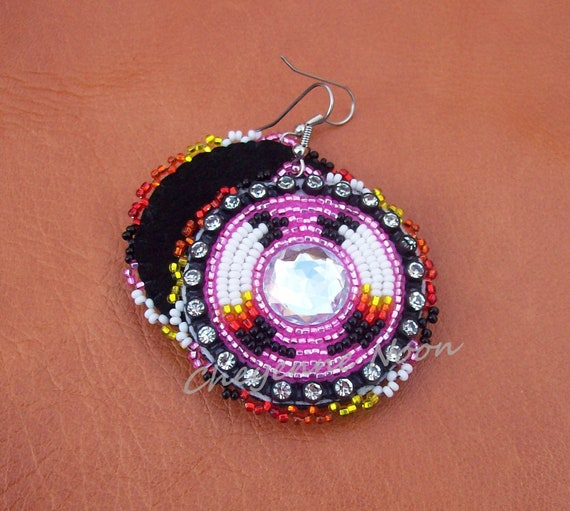 Native American Beaded Earrings - TWO FEATHERS BLING Hot Pink