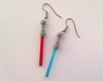 RED & LIGHT BLUE Star Wars Lightsaber Earrings