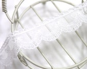 embroidered mesh lace 1yard (width 2.5cm) 40091-6 white