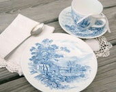 Vintage Wedgwood Countryside Teacup, Saucer and Plate from England in Blue and White