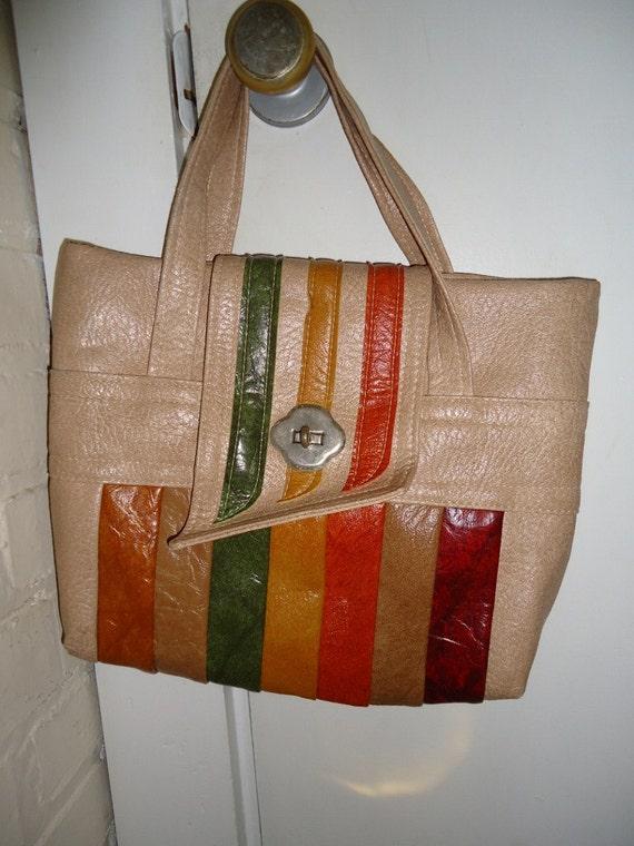 Autumnal Striped Vintage 1970's BOHO Vinyl Handbag Purse