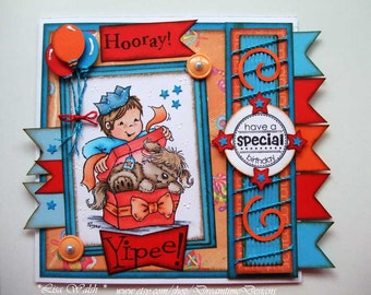 A Birthday Suprise Birthday Card - Papercraft Design - Boy - Dog - Stampavie