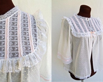 Vintage 60s Bed Jacket White Dotted Swiss Lace and Ribbon Yoke Size M / L