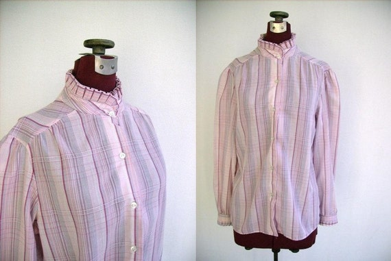 Vintage 60s Blouse Pink Plaid with Ruffled Collar and Cuffs Medium