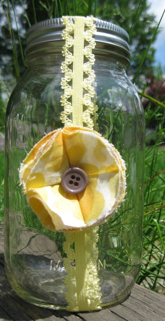 SALE Baby Girl Headband -  Yellow, Button Flower, Elastic Lace