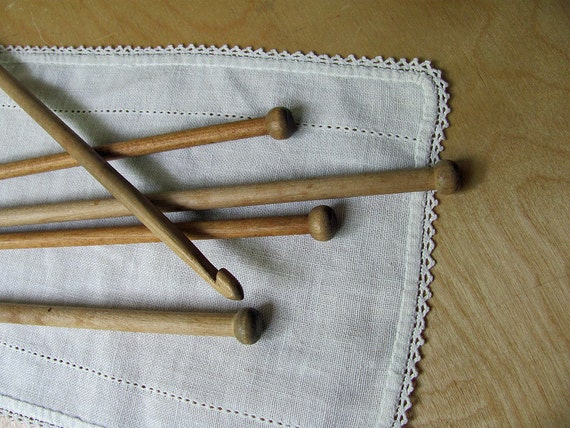 Wood Knitting Needles 2 Sets and Crochet Hook Wooden Long  Nice Points All for One Price