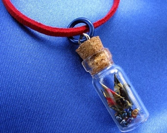 Bottled Crane Charm Necklace - Red, Black, and Gold