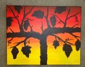 Grapevine Sunset Silhouette-Original Artwork-Acrylic Painting